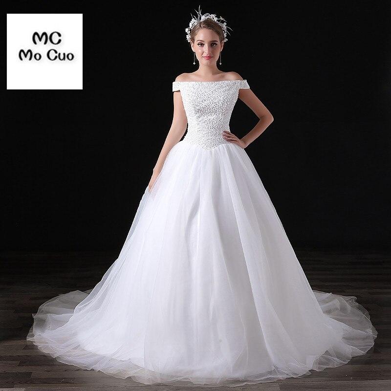 High Quality Wedding Dresses Boat Neck Robe De Mariage