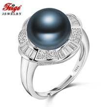 Trendy Luxury 925 Sterling Silver Pearl Ring for Female Party Jewelry Gift 10-11MM Blue Freshwater Fine FEIGE