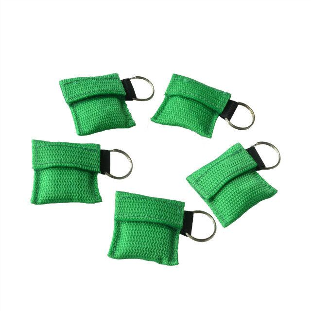 Pack of 100Pcs CPR Resuscitator Mask Keychain Ring With One-way Valve Breathing Barrier For First Aid Or AED Training Green Bag free shipping 20 pairs pack adult aed training machine electrode pads replacement sticky aed patch first aid training