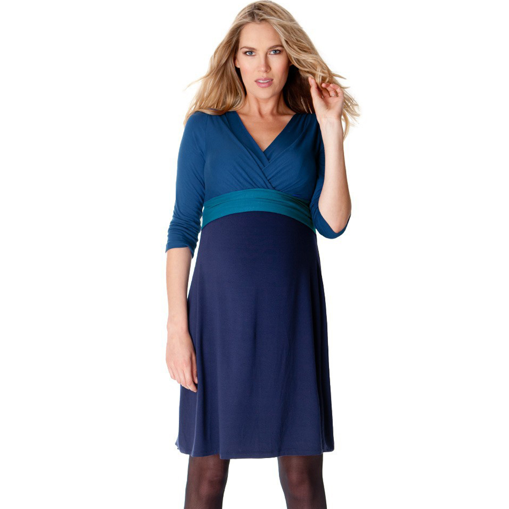 3/4 Sleeved Front V-neck Knee Length Temperament Maternity Dress Blue Lycra Nursing Pregnancy Dress for Working Pregnant Women green grid v neck flared 3 4 length sleeves blouses
