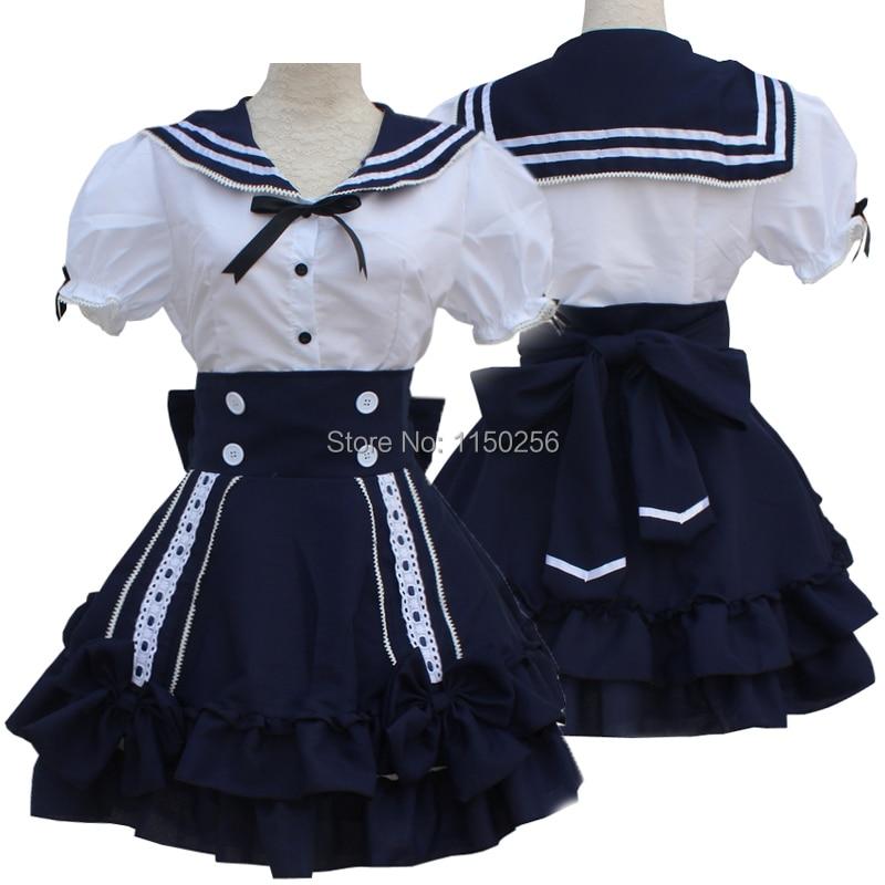 Japan Anime Kawaii Lolita Navy Blue Sailor Uniform Dress School Girls Cosplay Costume Outfit New Free Shipping+Drop Shipping