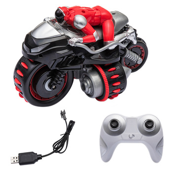 2.4G 360 Degree Rotating Drift Stunt Tumble Vehicle Rc Motorbike Scrambling Motorcycle Toy With Light Boys Remote Control Toys
