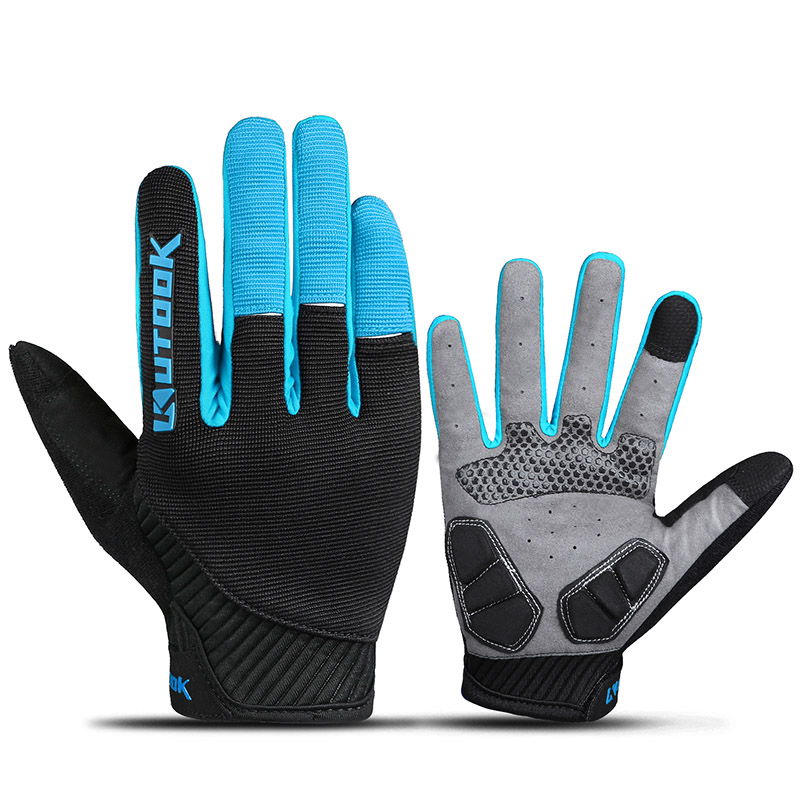 KUTOOK Men's Cycling Gloves Women Full Finger Bike MTB Mountaina Bicycle Gloves Touch Screen Gel Padded Lycra Mittens KF401