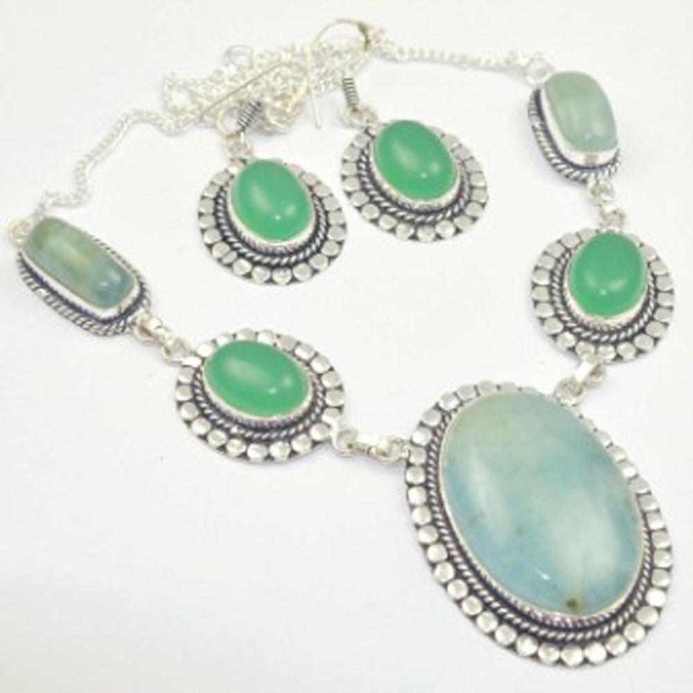 Ожерелье амазонита + серебряное покрытие для ушей над медью, 51 см, N3154 Цепочки      АлиЭкспресс