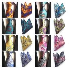 New Silk Classic Paisley Neck Tie&Pocket Square Hanky Suit S