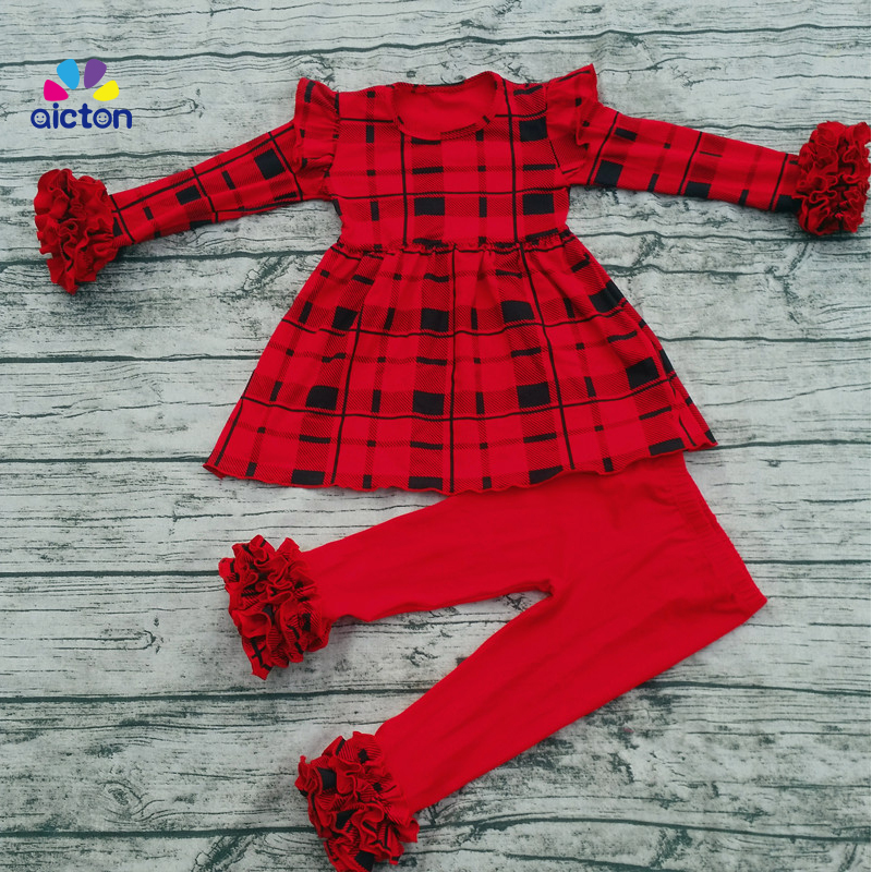 New 2017 Children's Boutique Clothing Kids Bulk Cotton Tunics Outfit Red Icing Legging Baby Plaid Clothes Sets