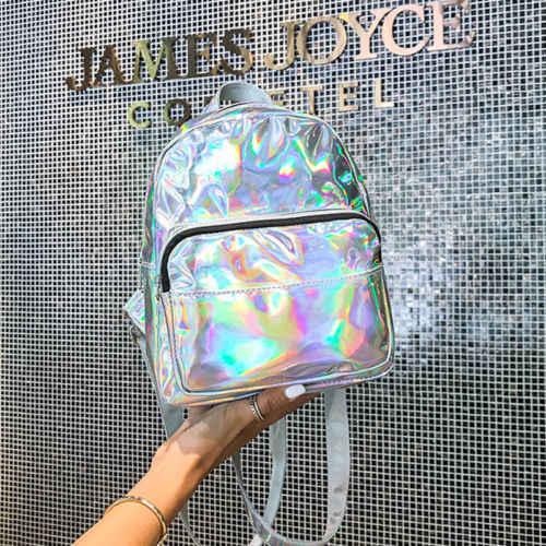 Kadın Vogue Renkli Sırt Çantası Şeffaf Yansıtıcı Hologram Holografik Çanta Sıcak Düz Renk Lazer Sırt Çantası Popüler Seyahat Gerekir