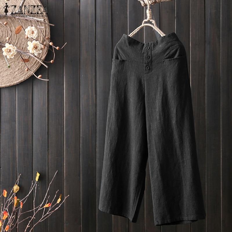 ZANZEA Women Vintage Solid Butons Trousers Elastic Waist Wide Leg Pants Casual Loose Pockets Pantalon Femme Streetwear Plus Size