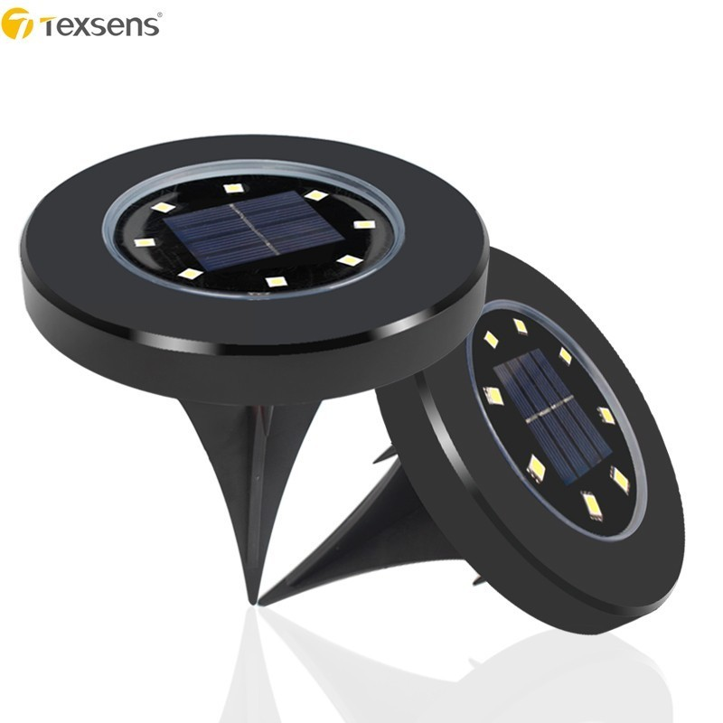 Texsens 8 LED Solar Powered Lawn Light Outdoor Lamps IP65 Garden/Pathway/Deck Light Home Yard Driveway Night Camping Light