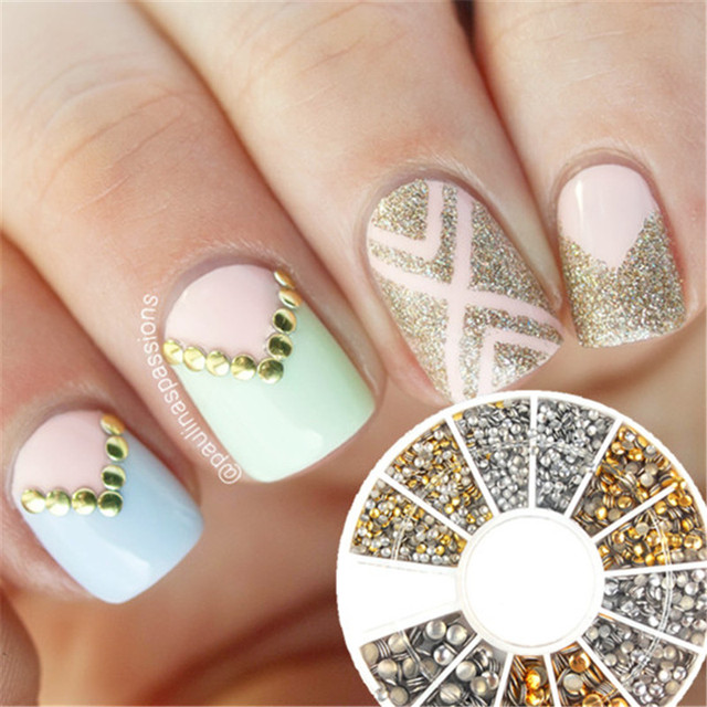 Nail Art Glitter Gold And Silver Rhinestone Decoration