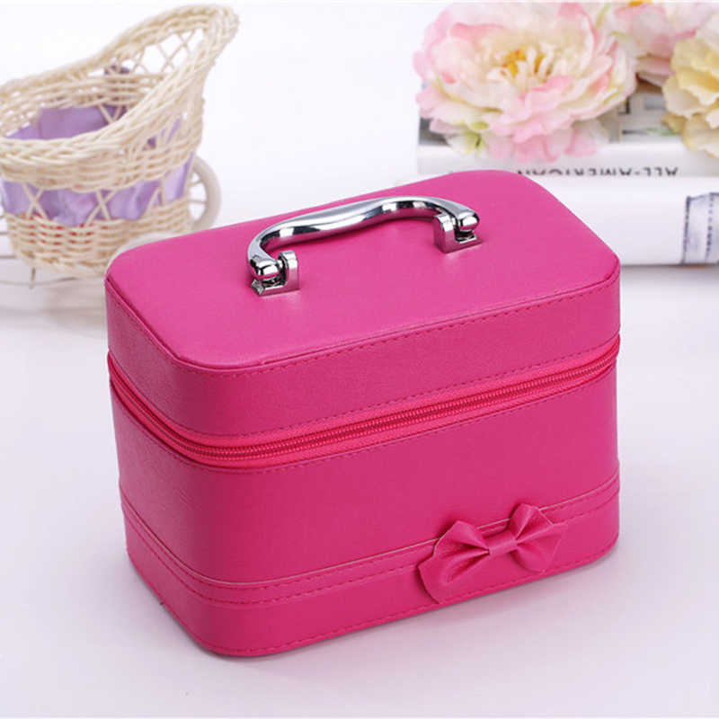 Desktop Cosmetic Case With Mirror Makeup Box Woman Travel Cosmetic Organizer Box Zipper Cosmetic Bag Female Jewelry Storage Box