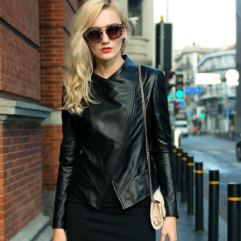 Genuine   Leather   Jacket Sheepskin   Leather   Women's Cool Motorcycle Short Jacket Fashion Jacket