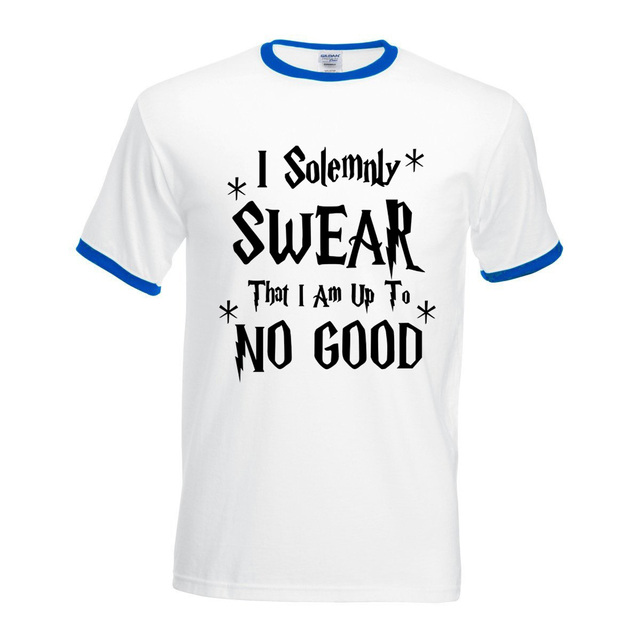 eb9502bef t shirt hip-hop hit collar tops men 2017 I Solemnly Swear That I Am Up To No  Good camiseta contrast color fitness brand clothing