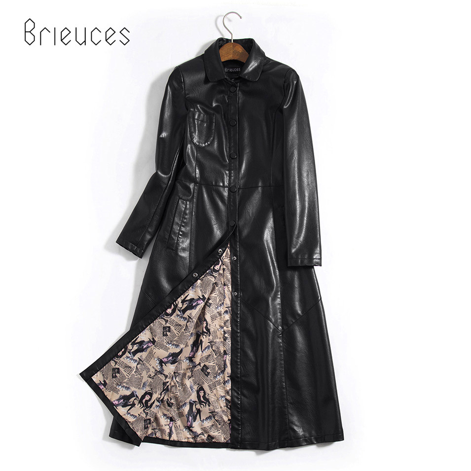 BrieucesS-5XL X-long   Leather   Jacket Women 2017 Winter New Coat Female Fashion Solid Turn Down Collar Single Breasted