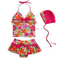 VIVOBINIYA Free Shipping Children Swimwear Baby Girl Floral Swimsuit Kids Flowers Bathing Suit Baby 3pics Set