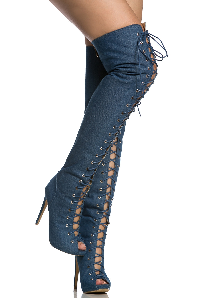Dark Denim Lace Up Open Toe Thigh High Boots Adjustable Laces Peep Toe Back Zipper Thin Heel Thigh High Boots eyelet lace up open back texture knit sweater