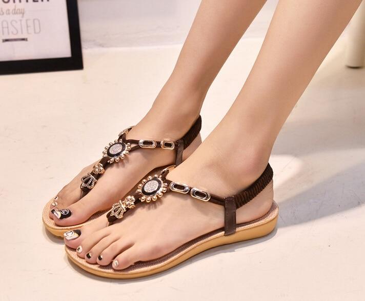 a2cfadbdc 2015 New Arrival summer sandals women flat shoes Girls Fashion rhinestone thong  sandals women Crown flat sandals