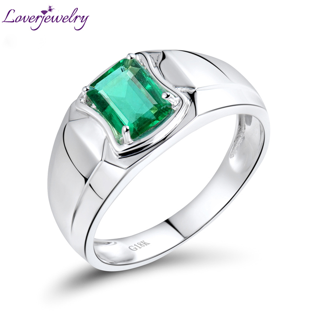 Well-liked Men Style Emerald Ring In 18Kt White Gold,Natural Diamond Emerald  AZ71