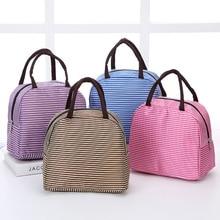 Stripe Design Portable Neoprene Lunch Bag for Women Food Fruit Custom Canvas Thermal Picnic Lunch Bag Big цена