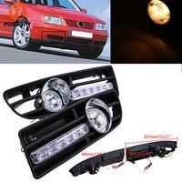 POSSBAY Car Front Bumper Fog Light Assembly Halogen/LED Daytime Running Light for 1999/2000/2001 2007 VW Bora Jetta MK4 Foglamps