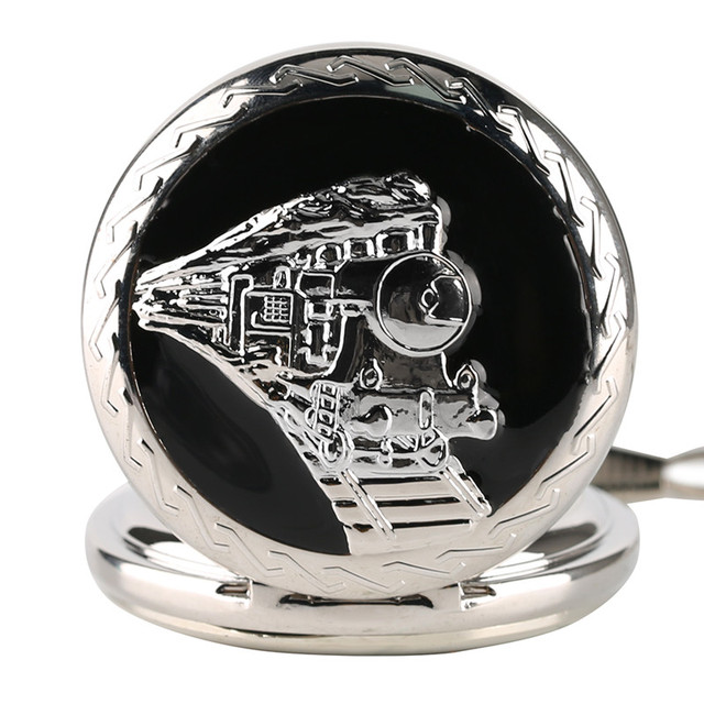 Glossy Steel Pocket Watch Black Epoxy Cover Silver Train on Railway Carving Pendant Chain Special Birthday Gifts Clock for Boys