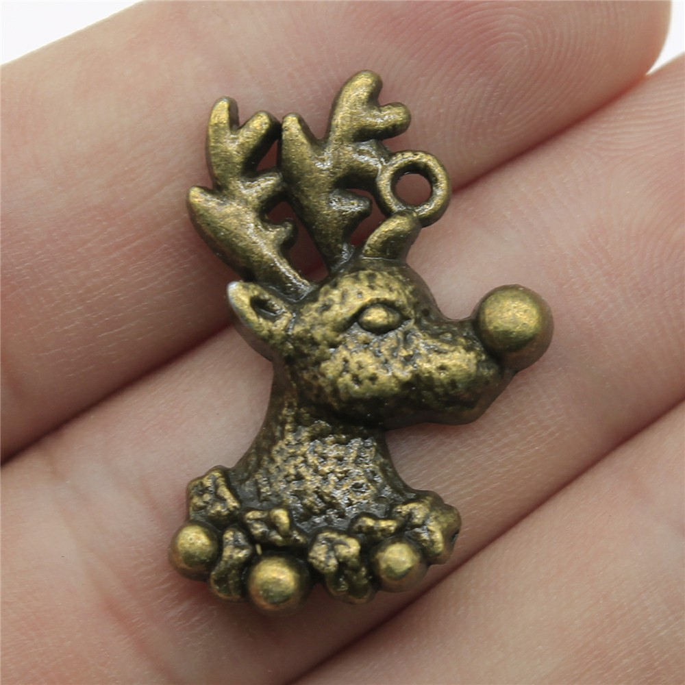 10pcs Antique Bronze Tone 1.1x0.8 inch (29x19mm) Christmas Deer Charms Pendant For Jewelry Making Diy Jewelry Findings