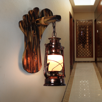 American country vintage bamboo wall lights  antique kerosene  lantern wall lamps personality bedroom bedside lamp E27