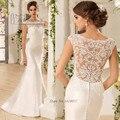 Louisvuigon Ivory Lace Mermaid Wedding Gowns 2016 Satin Wedding Dress Simple Buttons Long Bride Dresses Vestido de Casamento