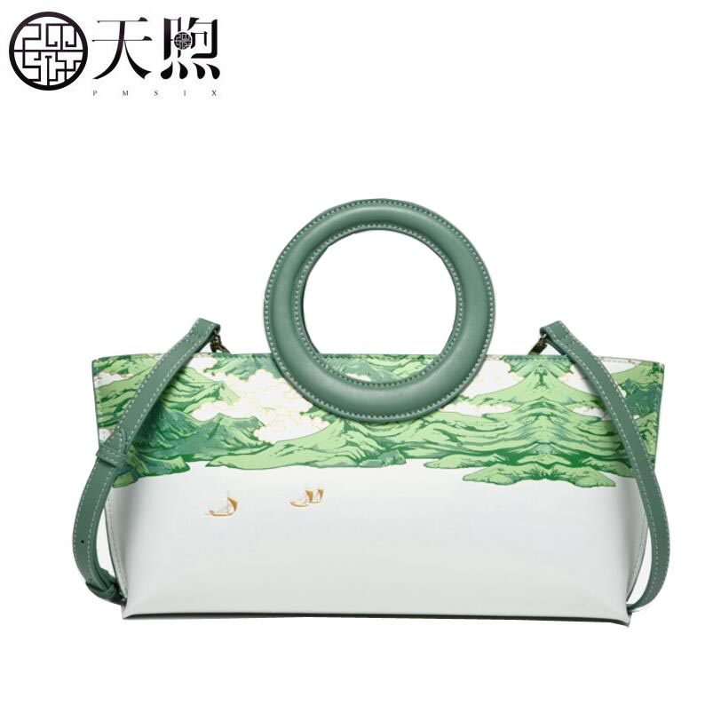 Famous brand top quality Cow Leather women bag 2018 New Printed Leather Handbag National wind Messenger bag ring hand bag famous brand top leather handbag bag 2018 new big bag shoulder messenger bag the first layer of leather hand bag