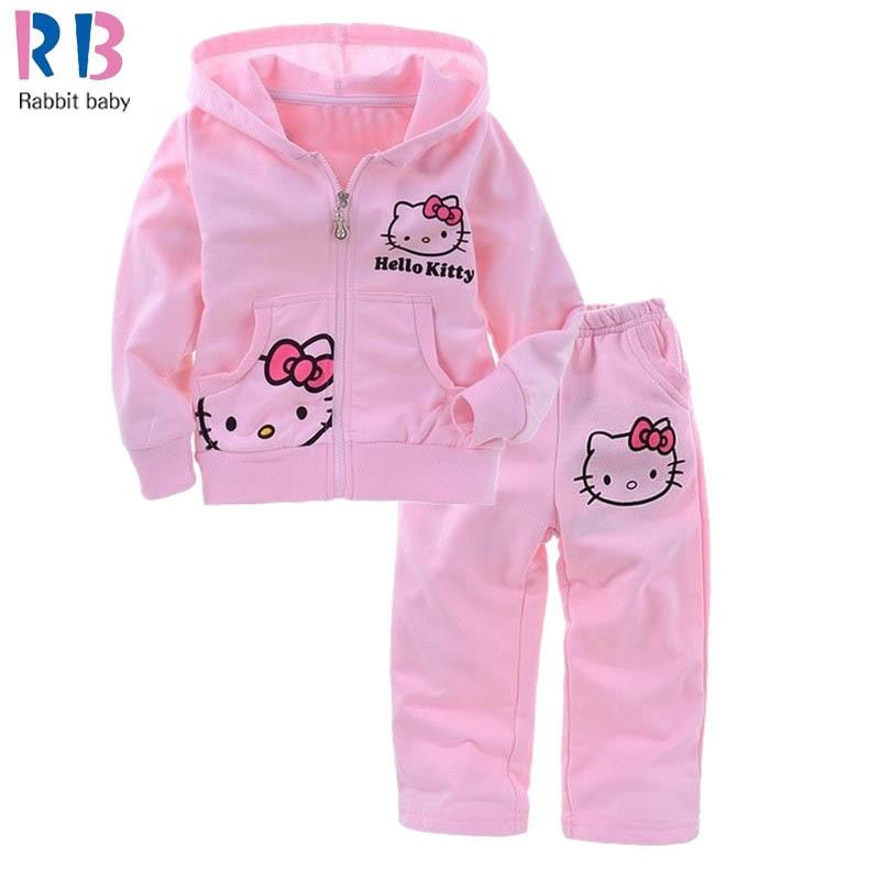 3ea4855920282 Girls Baby Suit Children's clothing set pink suit kids suit Hello Kitty suit  KT cartoon cat