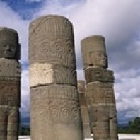 Low angle view of clouds over statues Atlantes Statues Temple of Quetzalcoatl Tula Hidalgo State Mexico (36 x 13)