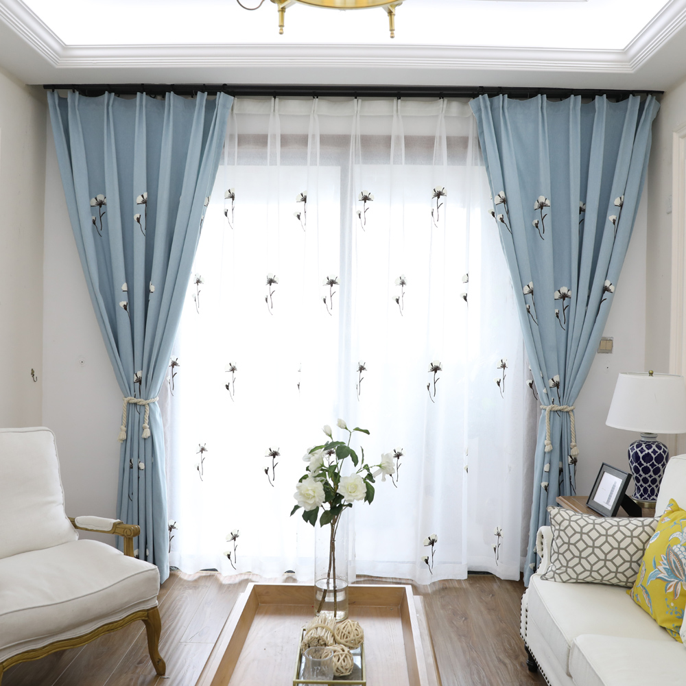 Blackout Curtains Drapes Fabric White Voile Tulle For Living Room ...