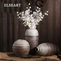Retro creative ceramic vase Jingdezhen porcelain bottle flower ware crude pottery for home decoration