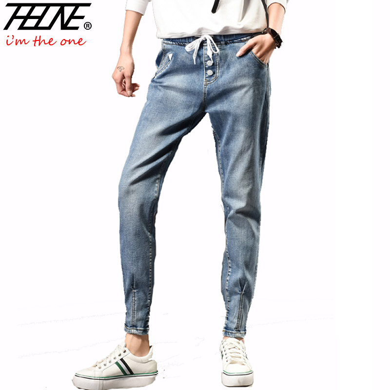2017 Jeans Women Denim Pants Elastic Waist Jogger Pants Casual Trousers Plus Size 5XL Fashion Pencil Harem Pants Jeans Female plus size pants the spring new jeans pants suspenders ladies denim trousers elastic braces bib overalls for women dungarees