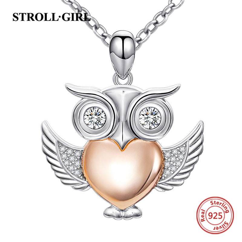 2018 sterling silver 925 cute owl pendant chain necklace with rose gold color heart diy fashion jewelry making for women gifts