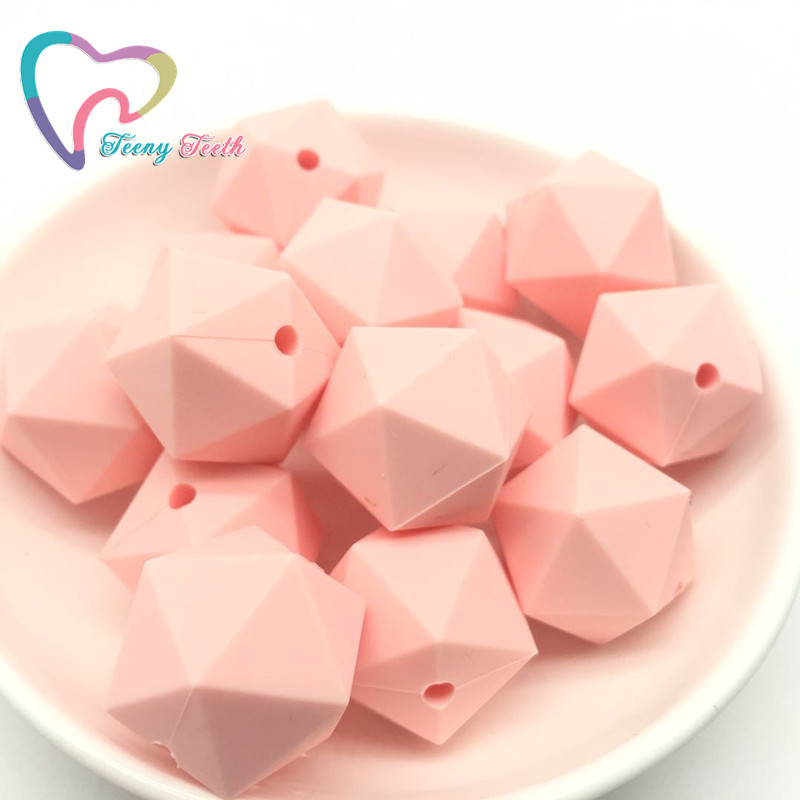 Beads & Jewelry Making Beads Aspiring Teeny Teeth 10 Pcs Candy Pink Icosahedron Silicone Beads Teething Baby Teether Chewable Silicone Beads Bpa Free Teething Toys Fine Craftsmanship