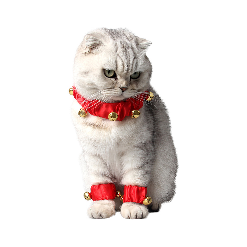 1set 3pcs Cute Adjustable Festival Dog Cat Collar Necklace Foot Ring with Bells Pet Accessories Party Suit Decorations