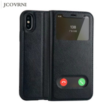 JCOVRNI High quality leather double window mobile phone holster for iPhone X with stand for iPhone 7 7Plus back cover