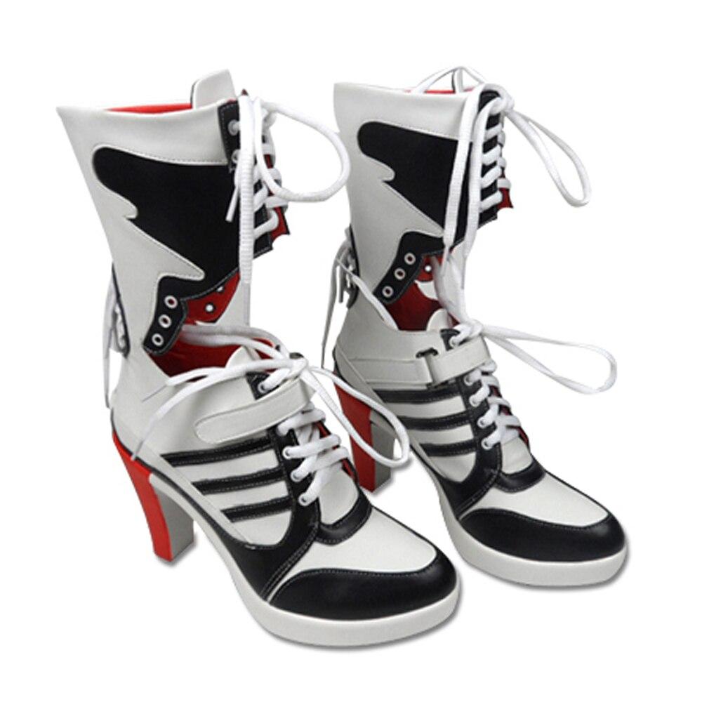 Suicide Squad Clown Harley Quinn Shoes Boots font b Cosplay b font Custom font b Anime