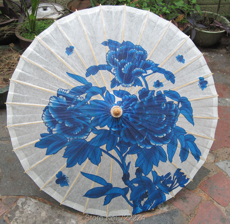 Dia 84cm Handmade Chinese Classical Blue Dream Rose Painting Waterproof Parasol Decoration Gift Dance Props Oiled Paper Umbrella dia 2th album yolo blue dia ver release date 2017 04 27