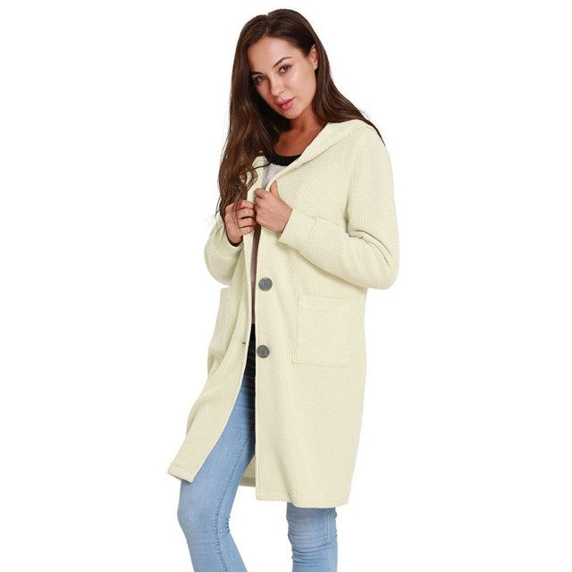4931a9f22fe Fashion Knitted Solid Color Long Sleeve Cardigan Korean Style Autumn Winter  Button Coat Female Hooded Outwear Cardigans