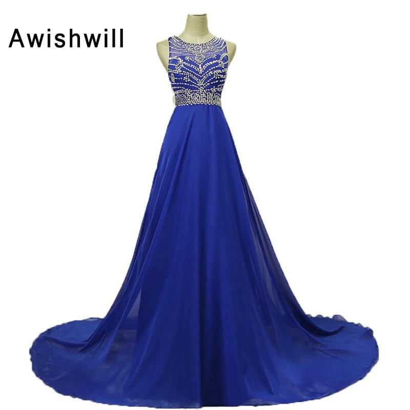 Πραγματικές φωτογραφίες Vestido De Festa μανίκια χωρίς μανίκια O-λαιμών σφαιρίδια Chiffon αφρικανικά φορέματα φορέματα Party Φορέματα Long Royal μπλε βραδινά φορέματα