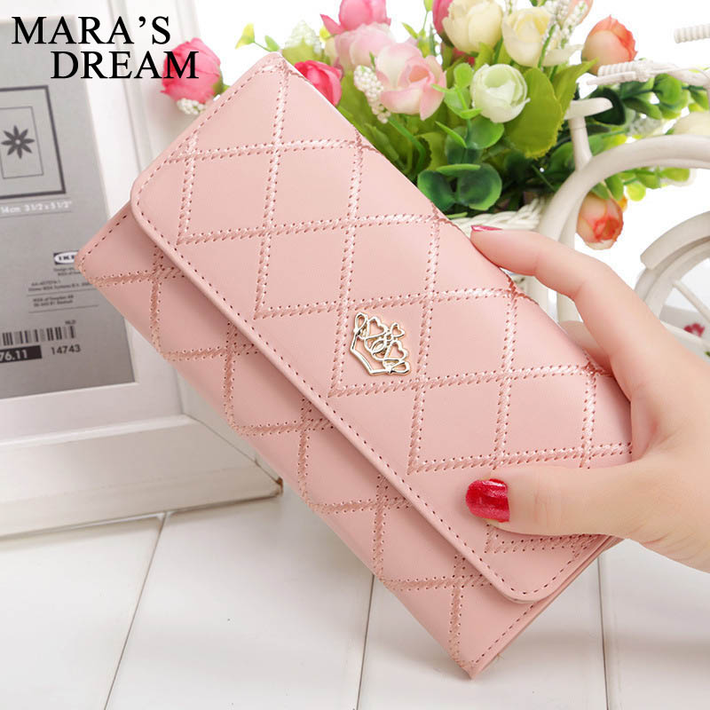 Mara's Dream Womens Wallets Purses Plaid PU Leather Long Wallet Hasp Phone Bag Money Coin Pocket Card Holder Female Wallet Purse(China)