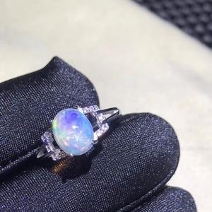 Image 5 - 천연 오팔 여성 반지 변경 화재 색상 신비한 925 실버 조정 가능한 크기