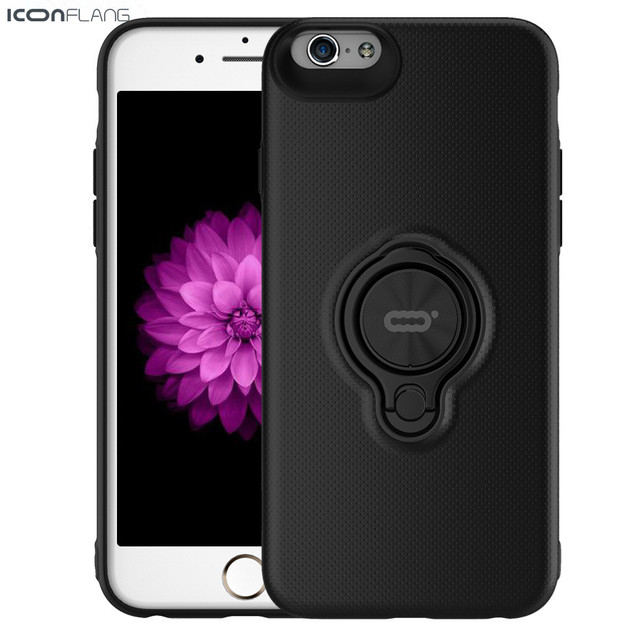ICONFLANG Phone Case For iPhone 6 6 Plus Cover PC Phone Shell Luxury Shockproof Ring Holder Case For iphone 6