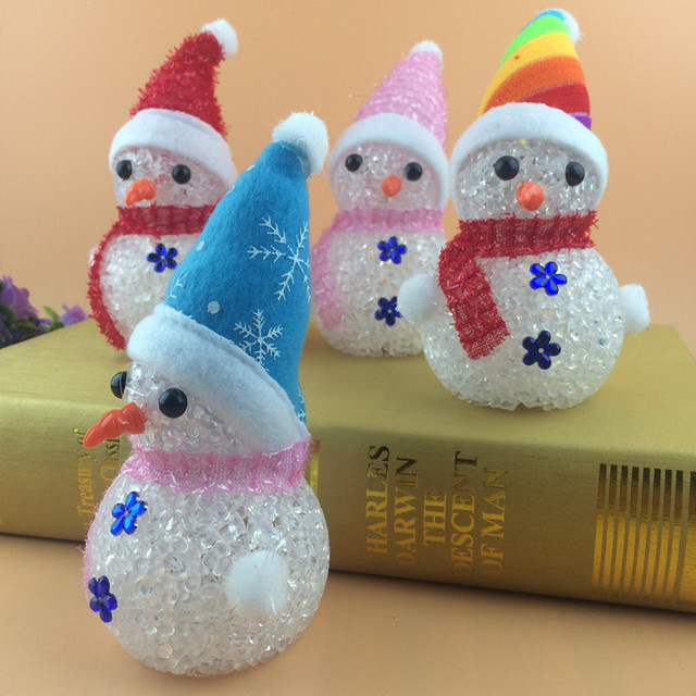 colorful crystal nightlight led luminous particles christmas light snowman christmas tree ornaments wholesale toys - Christmas Tree Ornaments Wholesale