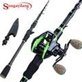 Sougayilang 1 8 м 2 1 м телескопические удочки для литья с 7 2: 1 Катушка для литья для путешествий пресноводная Морская рыбалка