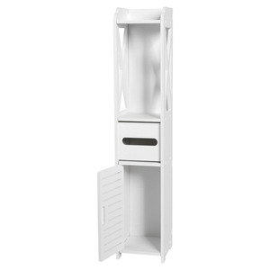 Image 4 - Floor Mounted Storage Cabinet Corner Bathroom Vanity Bathroom Side Cabinet Towel Box Toilet Shelf Living Room Furniture