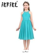 IEFiEL Crianças Meninas Crianças Adolescente Princesa Casamento Vestido de Festa Concurso Formal Em Forma de Flor Elegante Vestido de Chiffon de Strass