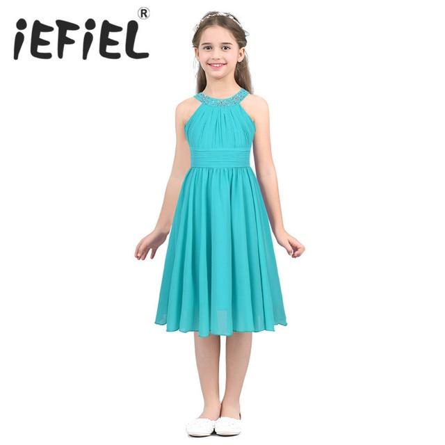 iEFiEL Kids Girls Children Teenager Wedding Princess Dress Elegant Party Pageant Formal Flower Shaped Rhinestone Chiffon Dress